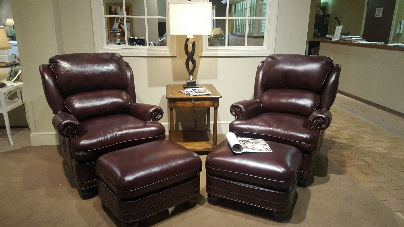 Hancock U0026 Moore Austin Tilt Back Chair With Ottoman In Document Chestnut  Leather With Leather Arm Covers. Retail $6399.00, Regular Sale Price  $4266.00.